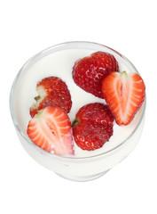 Strawberries in white milk