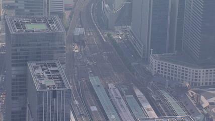 Aerial Metropolis Tokyo National Rail Station business district Japan