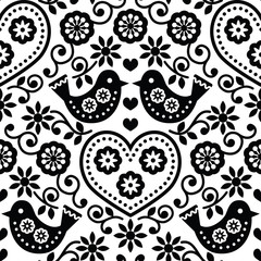 Folk art seamless monochrome pattern with flowers and birds