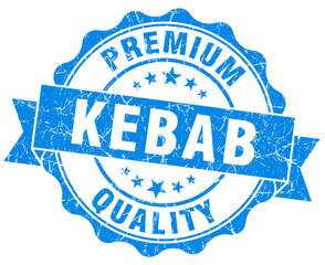kebab blue grunge seal isolated on white