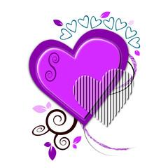 Illustration autour d'un coeur mauve