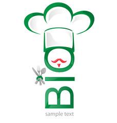 bio symbol restaurant isolated on white .