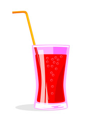 Red drink on white background