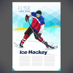 Vector concept of a hockey player with geometric background