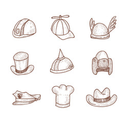 Collection of Hats, Hand Drawn.