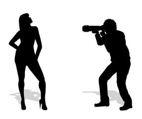 silhouette di fotografo con modella