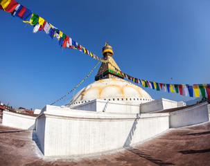 Bodhnath stupa with prayer flags