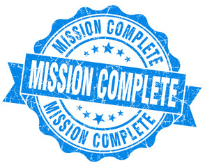 mission complete blue grunge seal isolated on white