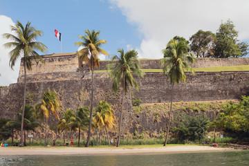 At walls of ancient fortress. Fort-de-France, Martinique