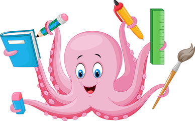 Cartoon octopus holding stationery