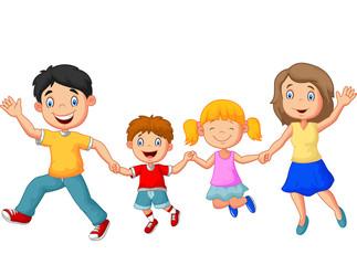Cartoon happy family waving hands