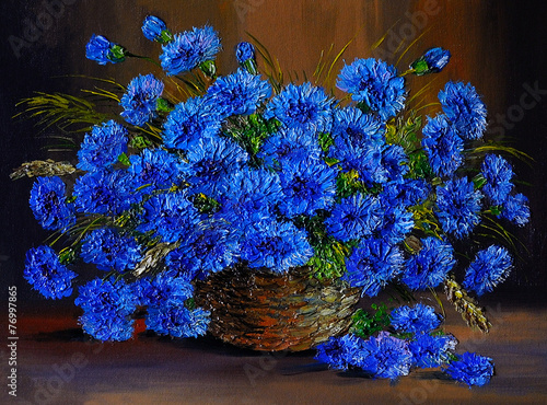 Oil painting of blue flowers  in a vase, art work - 76997865