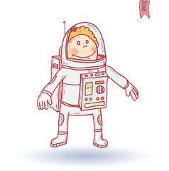 Space boy, hand drawn vector illustration.