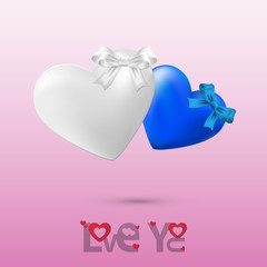 Twin Heart on Valentines day background