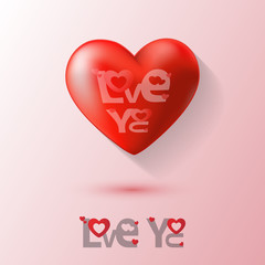 Red Heart on Valentines day background