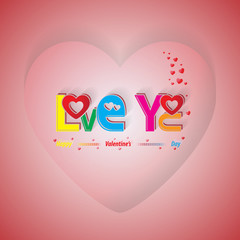 Love you card on Valentines day background