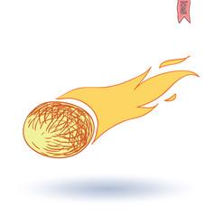 Meteorite, hand drawn vector illustration.