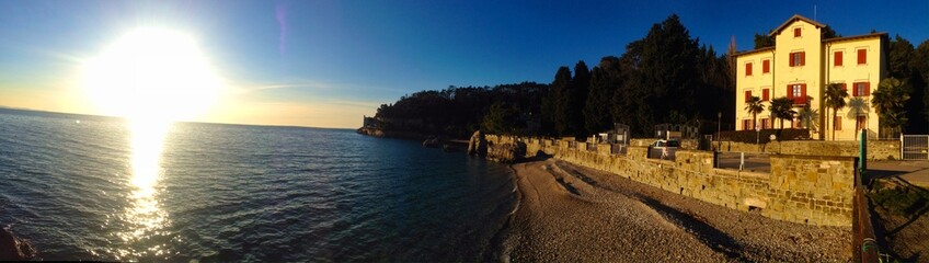 Miramare Castle entry view close to the sea - Trieste Italy