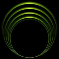 Glow green curve logo on black background