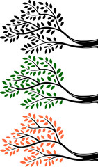 Illustration of tree branch silhouette