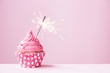 Pink cupcake with sparkler - 76999424