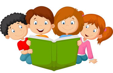 Cartoon kids reading book