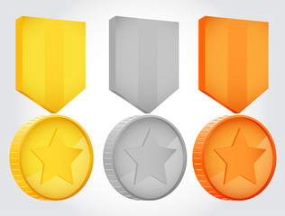 Gold silver and bronze vector medals