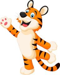 Happy cartoon tiger posing