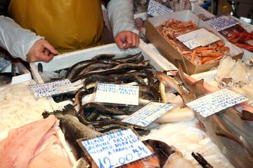 fishmonger sells the fresh fish at the market
