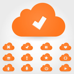 Cloud computing icon set.