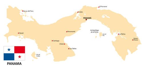 panama map with flag