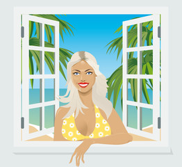 girl in the window smiling invitingly