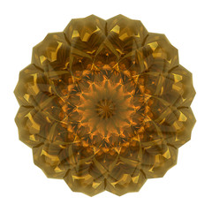 beautiful pattern rosette of yellow glass