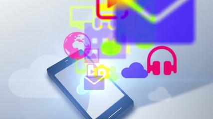 Multimedia icon communication motion graphic animation uploading cloud