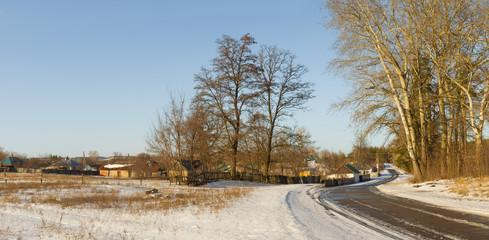 Winter landscape in Ukrainian rural area - Poltavsk region