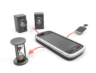The concept features a mobile phone
