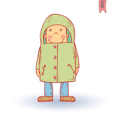 Little child walking in the rain, vector illustration.