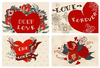 Collection of cards with flowers for Valentine design