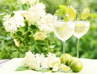 """Cocktail """"Hugo"""" vor Strauch mit Holunderblüten"""