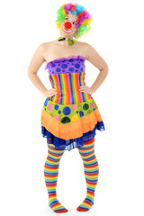 Clown in kunter-buntem Kostüm zu Karneval