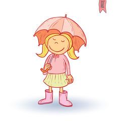 Little child walking in the rain, vector illustration.