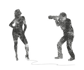 silhouette astratta di fotografo e modella