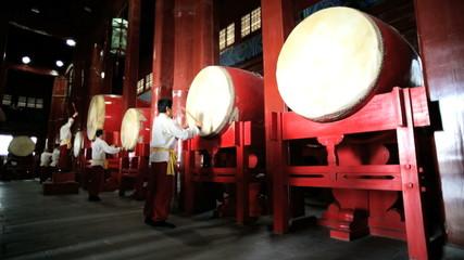 Drum Tower Beijing Chinese drum players China