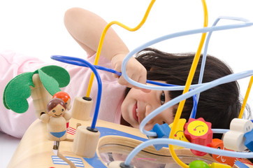 Asian baby playing education toy