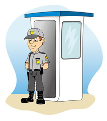 Job security in a guardhouse, standing guard
