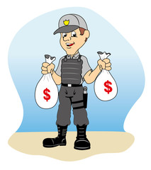 Professional security holding bags of money