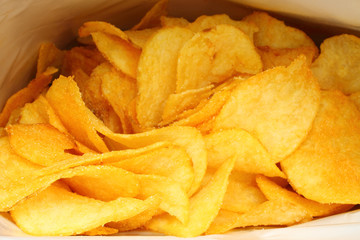 Potato chips in packing close-up.