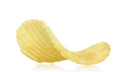 Single potato chip on white background close-up.