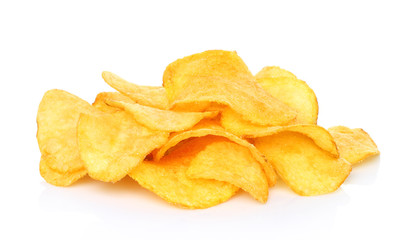 Potato chips on white background close-up.