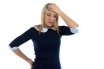 Image of thinking business woman with hand on head